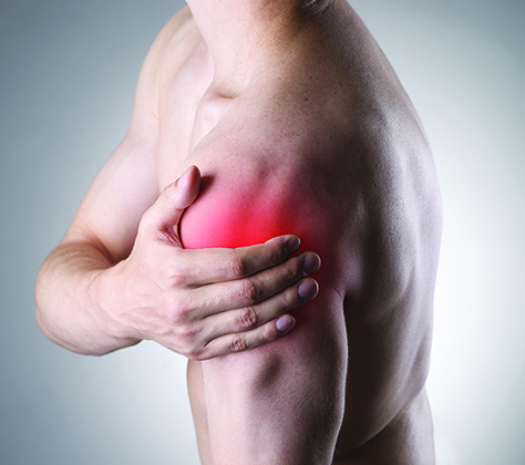 Image of man with injured and inflamed shoulder; a condition Effective Body Therapies can help heal